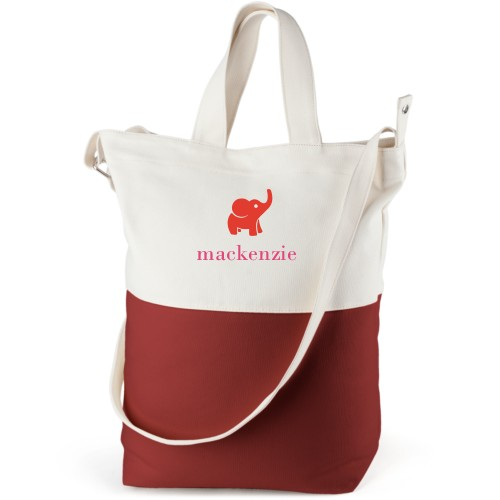 Elephant Girl Canvas Tote Bag, Red, Bucket tote, White