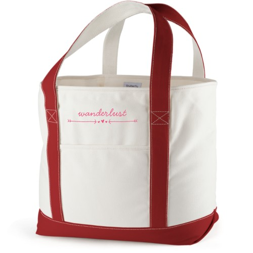 Wanderlust Canvas Tote Bag, Red, Large tote, White
