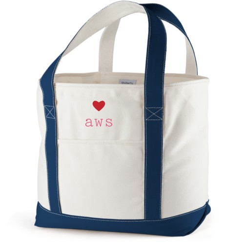 Perfect Pair Heart Canvas Tote Bag, Navy, Large tote, White