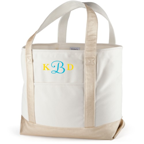 Three Letter Monogram Canvas Tote Bag, Metallic Gold, Large tote, White