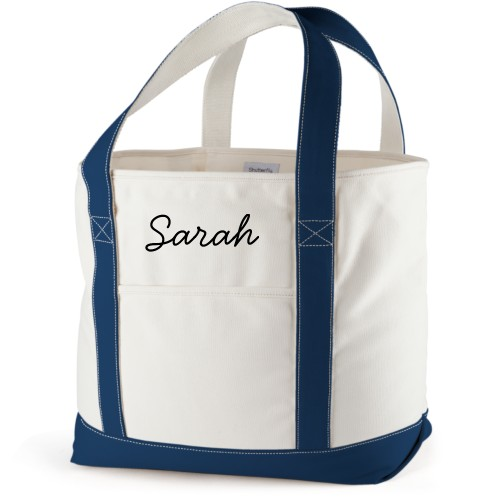 Make It Yours Canvas Tote Bag, Navy, Large tote, White