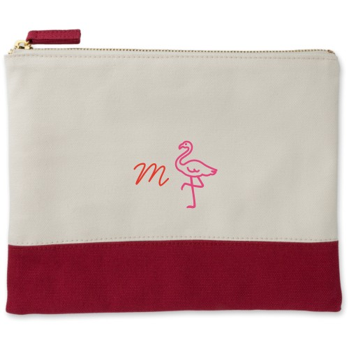 Flamingo Canvas Pouch, Red, Large Pouch, White