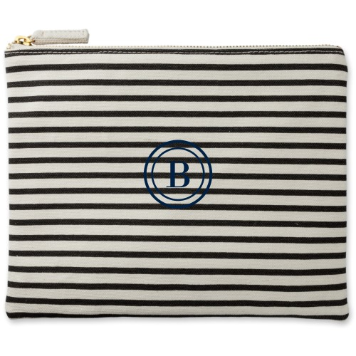 Circle Frame Canvas Pouch, Striped Black, Large Pouch, White