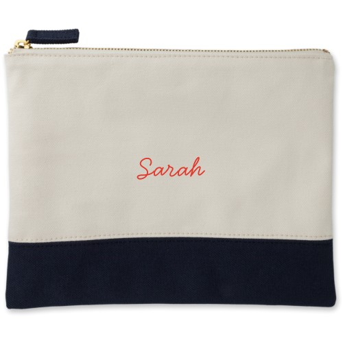 Make It Yours Canvas Pouch, Navy, Large Pouch, White