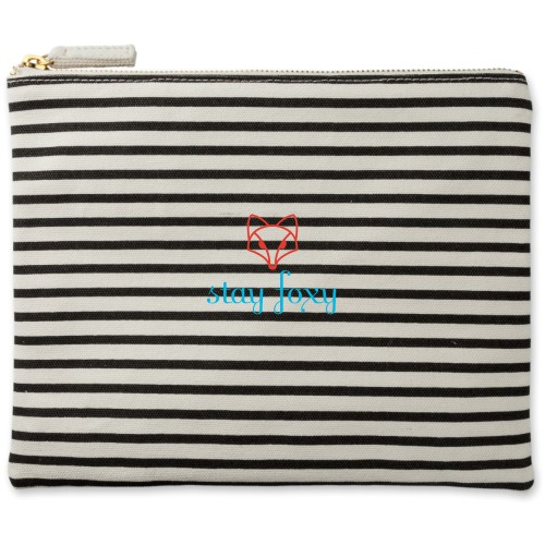 Stay Foxy Canvas Pouch, Striped Black, Large Pouch, White