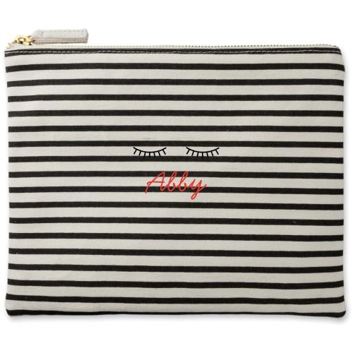 Lashes Canvas Pouch, Striped Black, Large Pouch, White