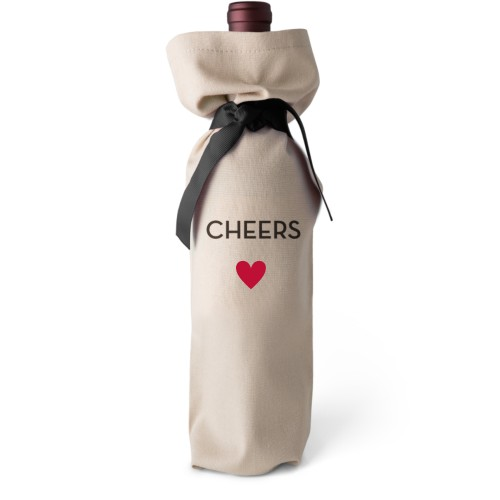 Heart Wine Bag, Wine Bag Linen, Add Personalization, Cheers, White