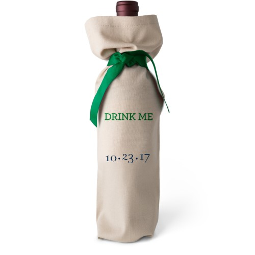 Merry Wine Bag, Wine Bag Linen, Add Personalization, Drink Me, White