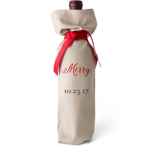 Special Date Wine Bag, Wine Bag Linen, Add Personalization, Merry, White