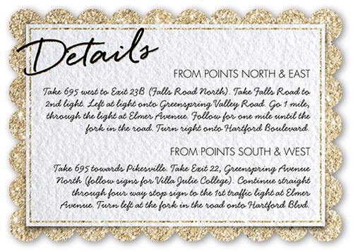 Sparkling Border Wedding Enclosure Card, Scallop Corners