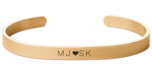 Perfect Pair Heart Engraved Cuff, Gold