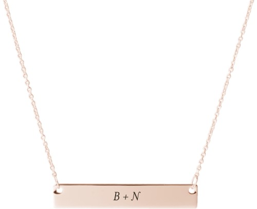 Plus Two Monogram Engraved Bar Necklace, Rose Gold, Engraved Necklace Double Side
