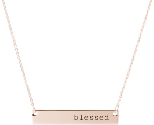 Blessed Engraved Bar Necklace, Rose Gold, Engraved Necklace Double Side