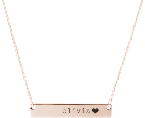 Heart End Engraved Bar Necklace