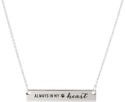 Paw Heart Engraved Bar Necklace