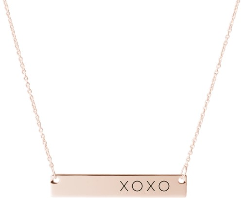 Hug Kiss Hug Engraved Bar Necklace, Rose Gold, Engraved Necklace Double Side