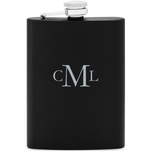 Three Letter Monogram Flask, Matte Black, Flask Single Side, Stainless Steel, White