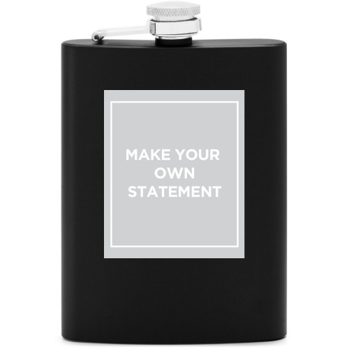 Make Your Own Statement Flask, Matte Black, Flask Double Side, Stainless Steel, White
