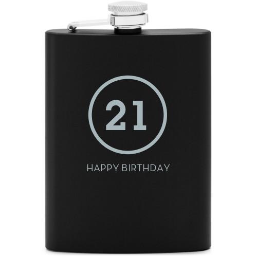Milestone Flask, Matte Black, Flask Single Side, Stainless Steel, White