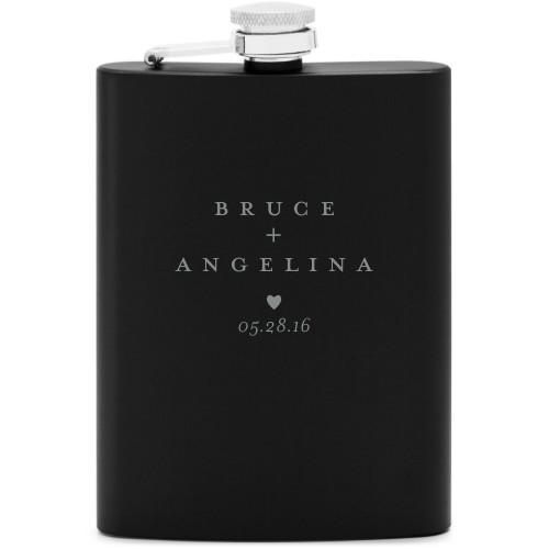 Milestone Date Flask, Matte Black, Flask Single Side, Stainless Steel, White