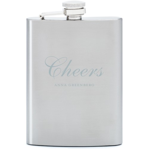Cheers Flask, Stainless Steel, Flask Double Side, Stainless Steel, White