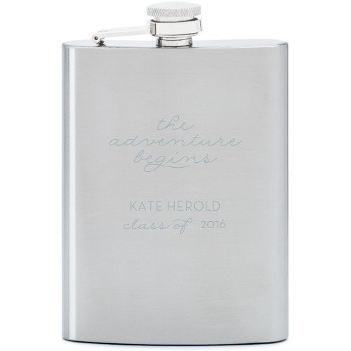 The Adventure Begins Flask, Stainless Steel, Flask Double Side, Stainless Steel, White