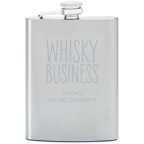 Whisky Business Flask, Stainless Steel, Flask Single Side, Stainless Steel, White