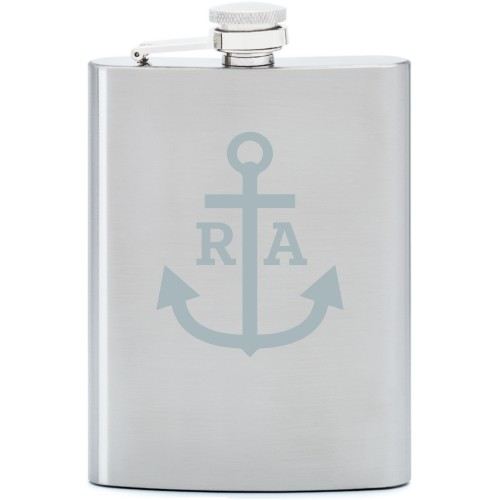 Anchors Away Flask, Stainless Steel, Flask Double Side, Stainless Steel, White
