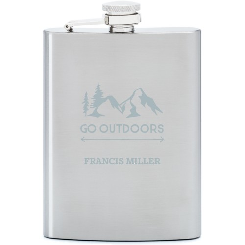Go Outdoors Flask, Stainless Steel, Flask Double Side, Stainless Steel, White
