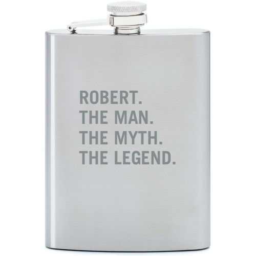 The Man Flask, Stainless Steel, Flask Single Side, Stainless Steel, White