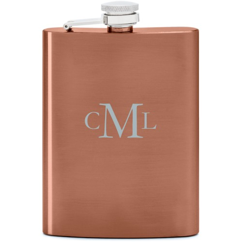 Three Letter Monogram Flask, Copper, Flask Double Side, Stainless Steel, White