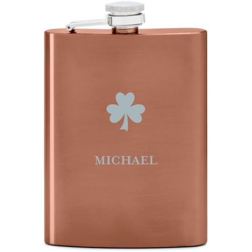 Shamrock Flask, Copper, Flask Single Side, Stainless Steel, White