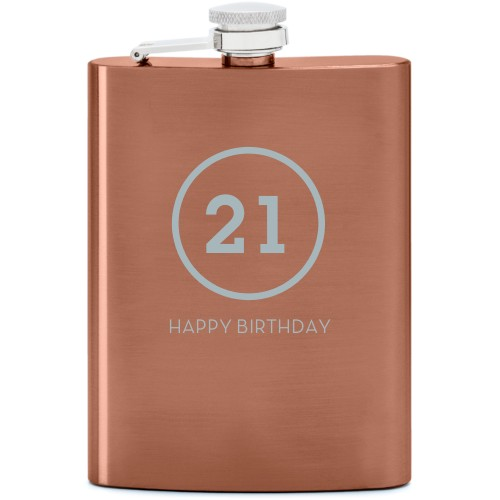 Milestone Flask, Copper, Flask Double Side, Stainless Steel, White