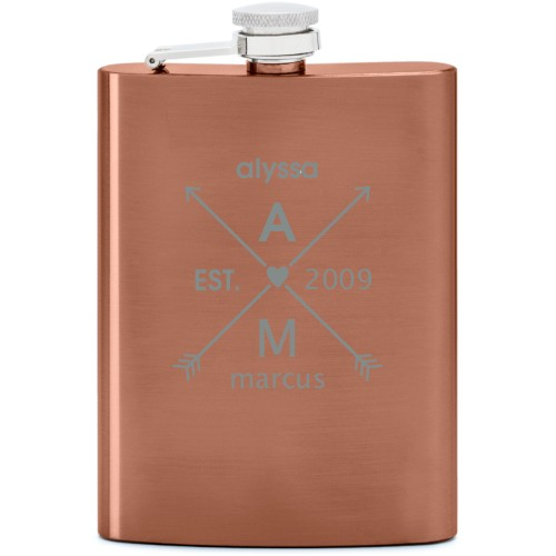 Arrows And Heart Flask, Copper, Flask Double Side, Stainless Steel, White