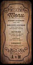 rustic romance wedding menu