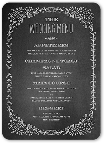 Captivated Chalk Wedding Menu By Stacy Claire Boyd