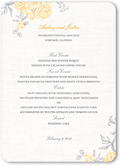 antique rose scrolls wedding menu