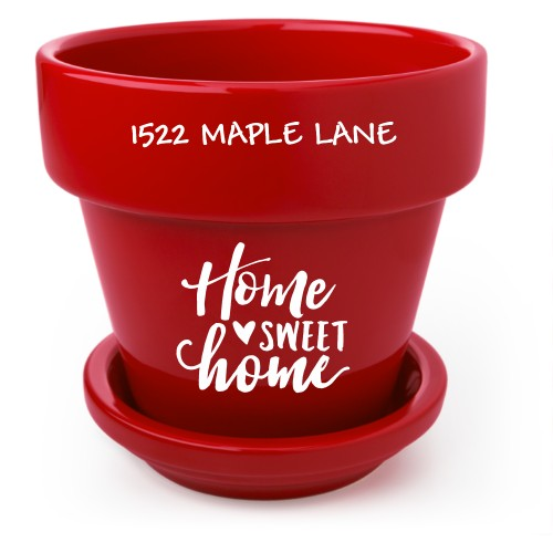 Home Sweet Home Flower Pot, Red, White