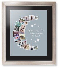 to the moon collage framed print