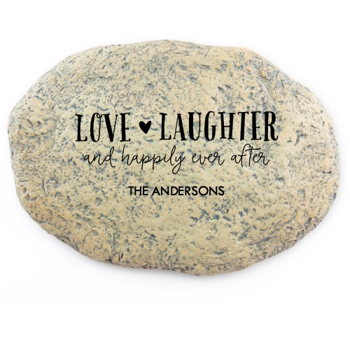 Love and Laughter Garden Stone, Large Oval Garden Stone (11x8), White