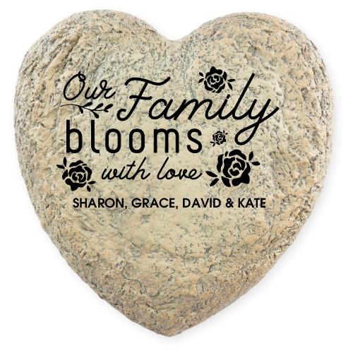 Floral Accent Garden Stone, Heart Shaped Garden Stone (9x9), White