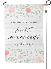 just married florals garden flag