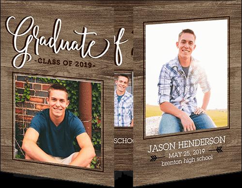 Woodgrain Alumni Graduation Announcement, Square Corners