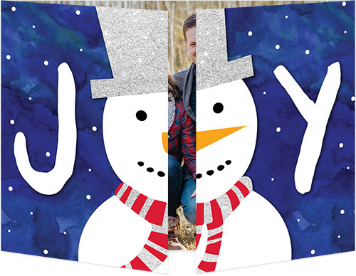 Joyous Snowman Holiday Card, Square Corners