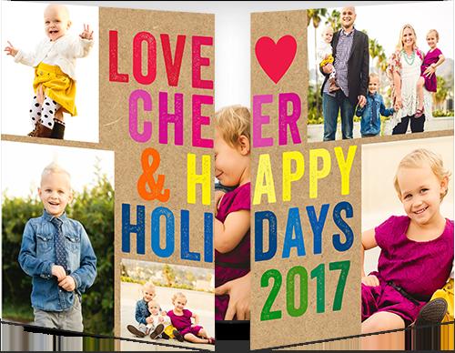 Colorful Festive Kraft Holiday Card