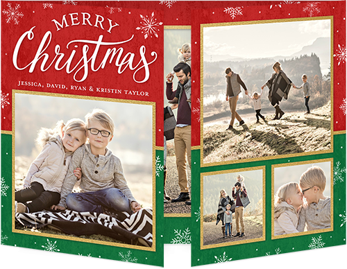 Simple Merry Frames Christmas Card, Square Corners