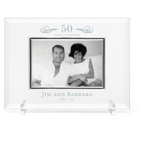 Years of Love Glass Frame, 11x8 Engraved Glass Frame, - No photo insert, White