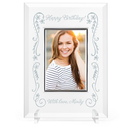 Floral Celebration Glass Frame, 8x11 Engraved Glass Frame, - Photo insert, White