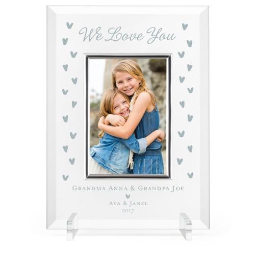 Heart Confetti Glass Frame, 8x11 Engraved Glass Frame, - Photo insert, White