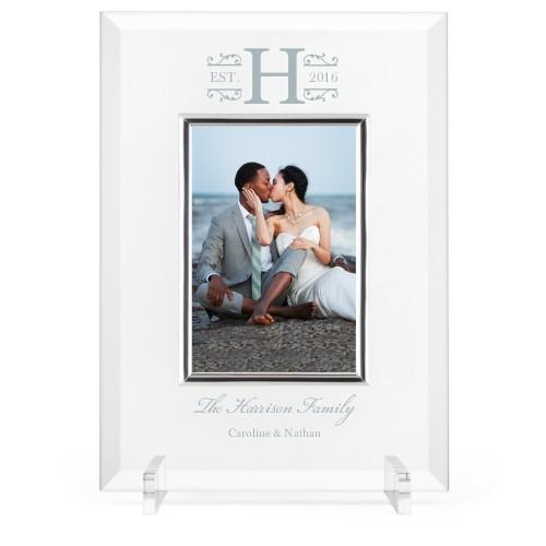 Elegant Wedding Glass Frame, 8x11 Engraved Glass Frame, - Photo insert, White